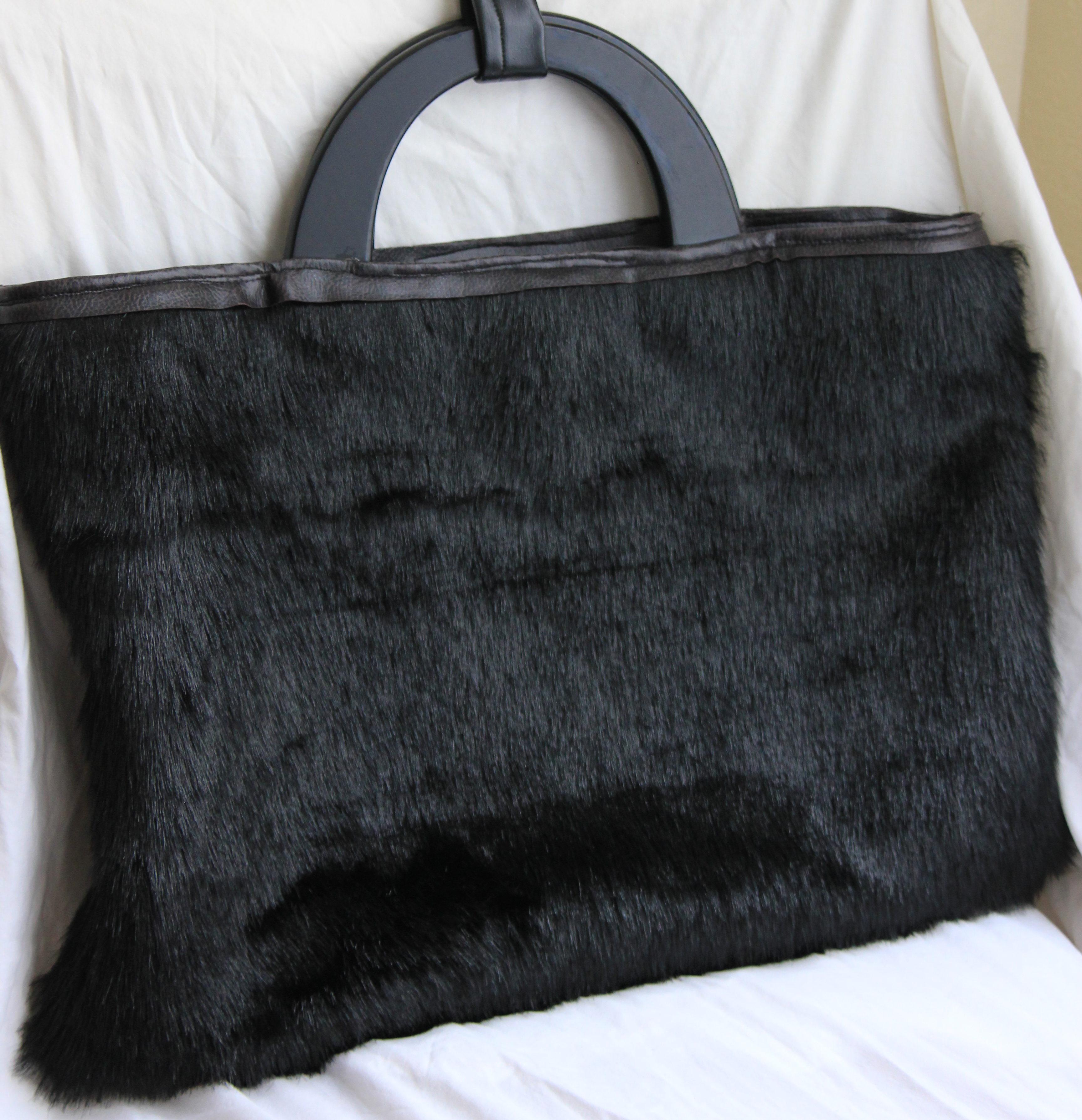 Faux Fur + Faux Leather Evening Bag