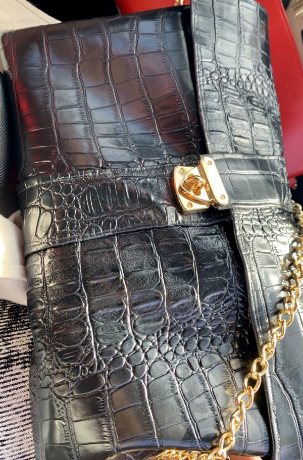 Faux Croc Cross Body Bag with Gold Closure