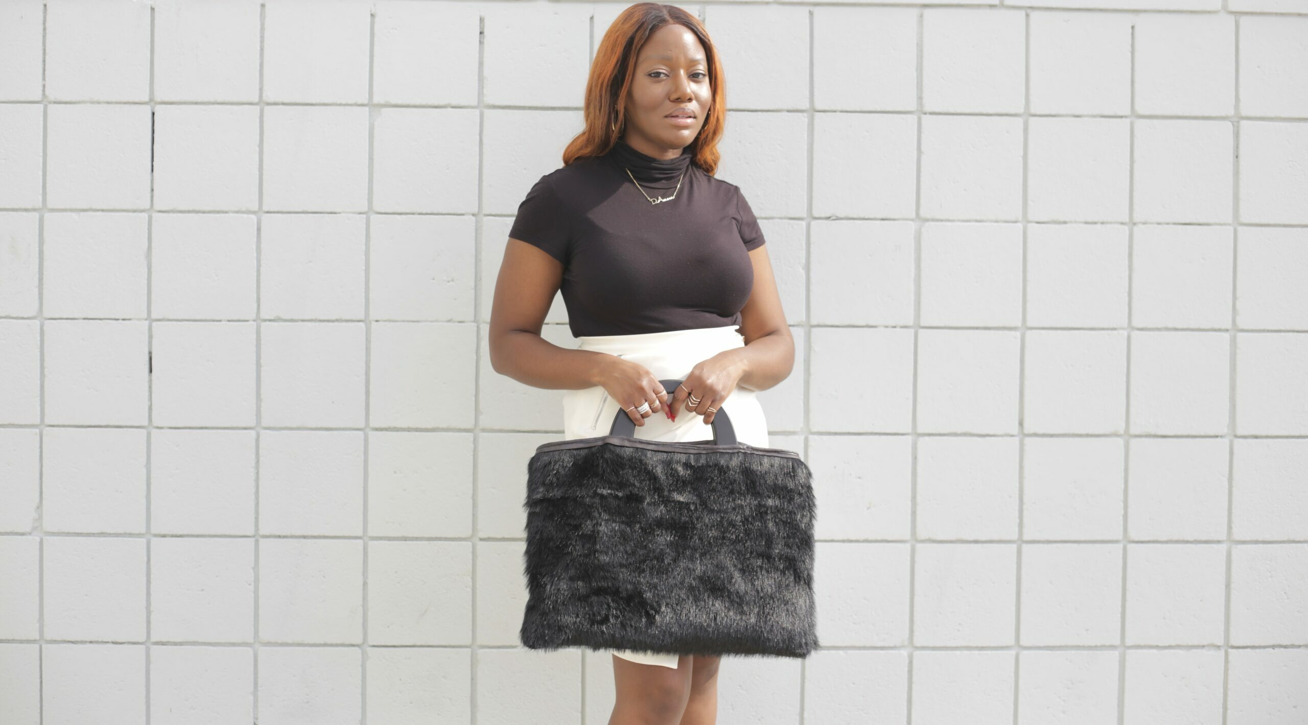 Faux Fur Vegan Leather Bag with Wooden Handle