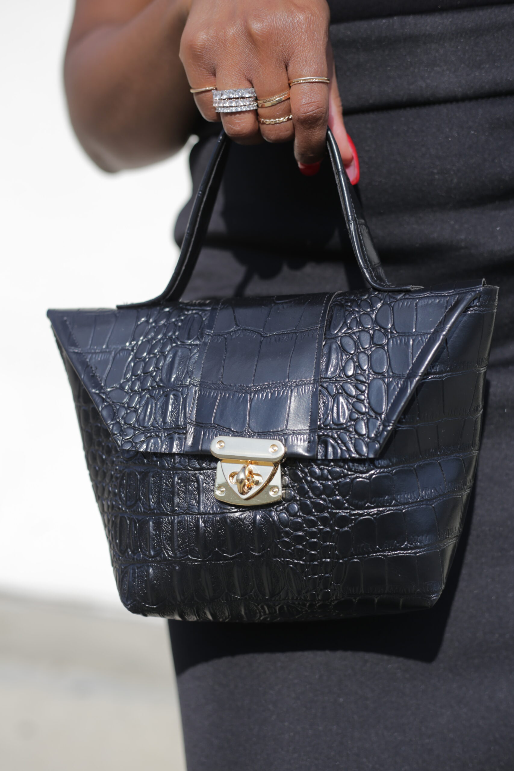 Close Up-Black Snakeskin Tiny Bag
