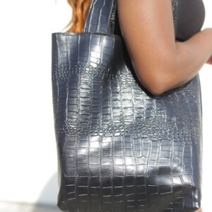 """Lorraine"" Black Snakeskin Vegan Leather Totebag"