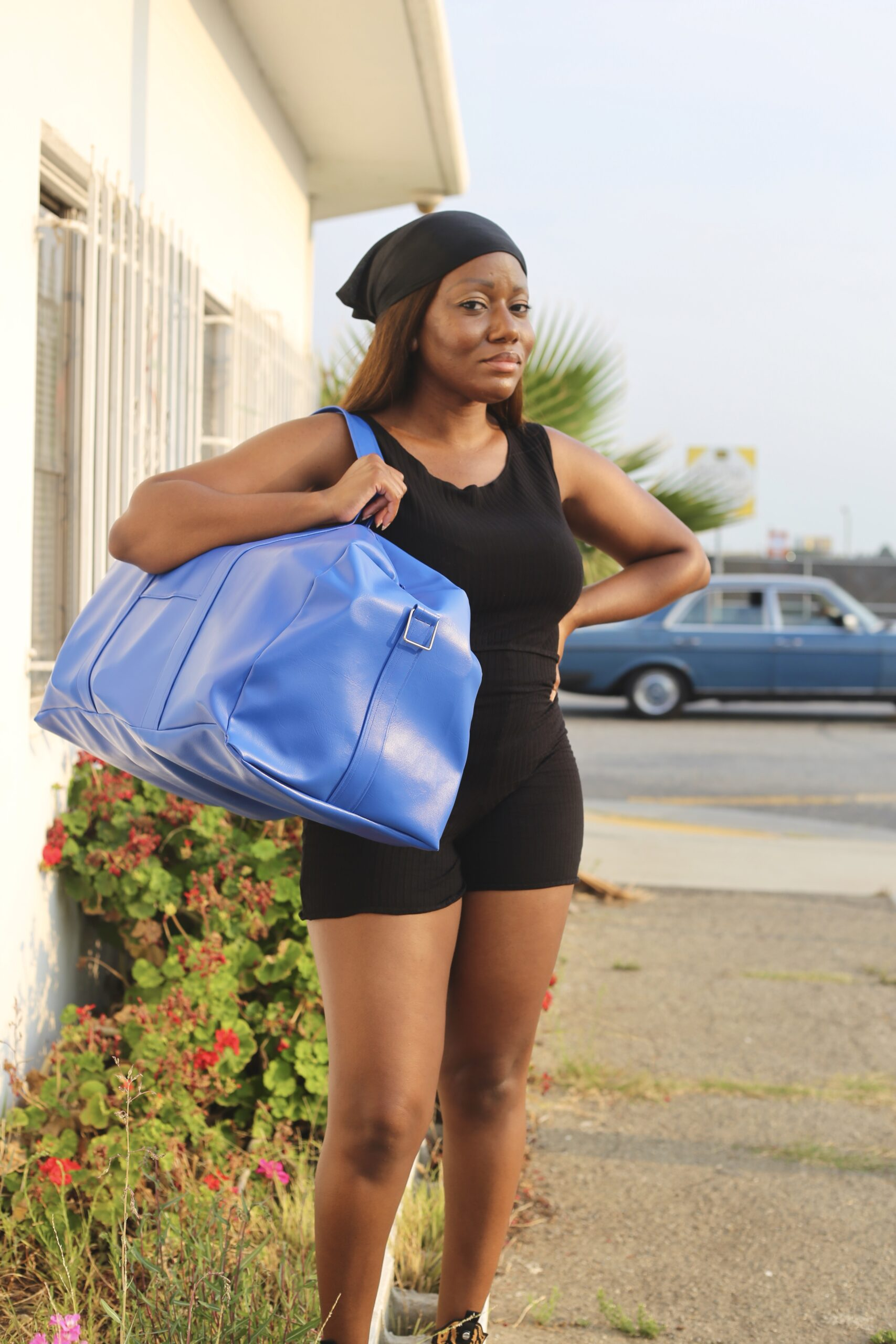 Cobalt Blue Vegan Leather Duffle Bag