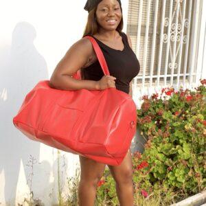 Red Vegan Leather Duffle Bag