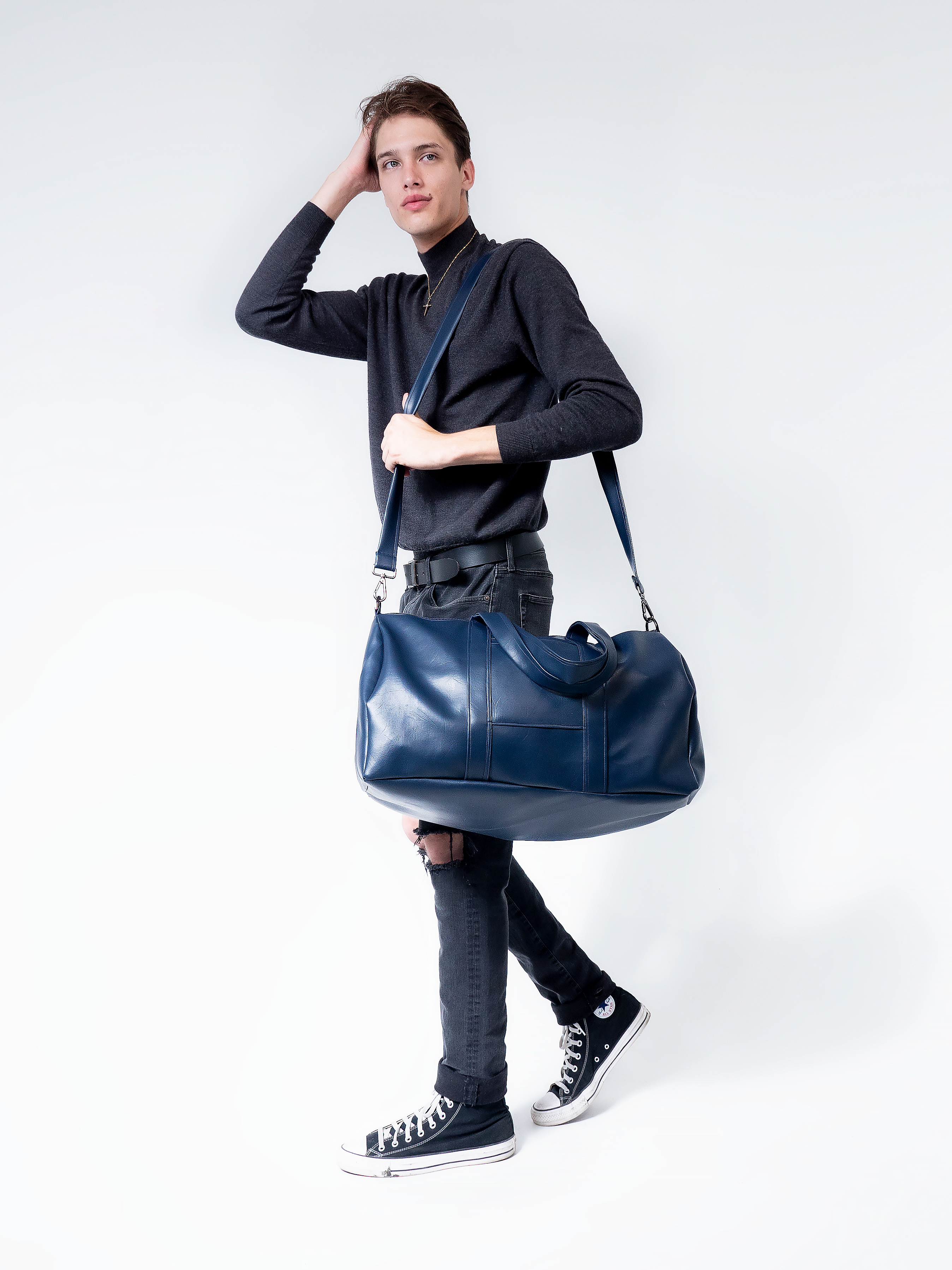 Navy Blue Vegan Leather Duffel Bag