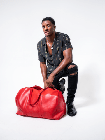 Red Vegan Leather Duffle Bag
