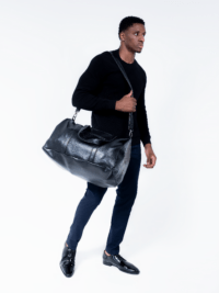 Black Snake Skin Vegan Leather Duffle Bag