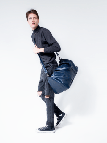 Navy Blue Vegan Leather Duffel Bag