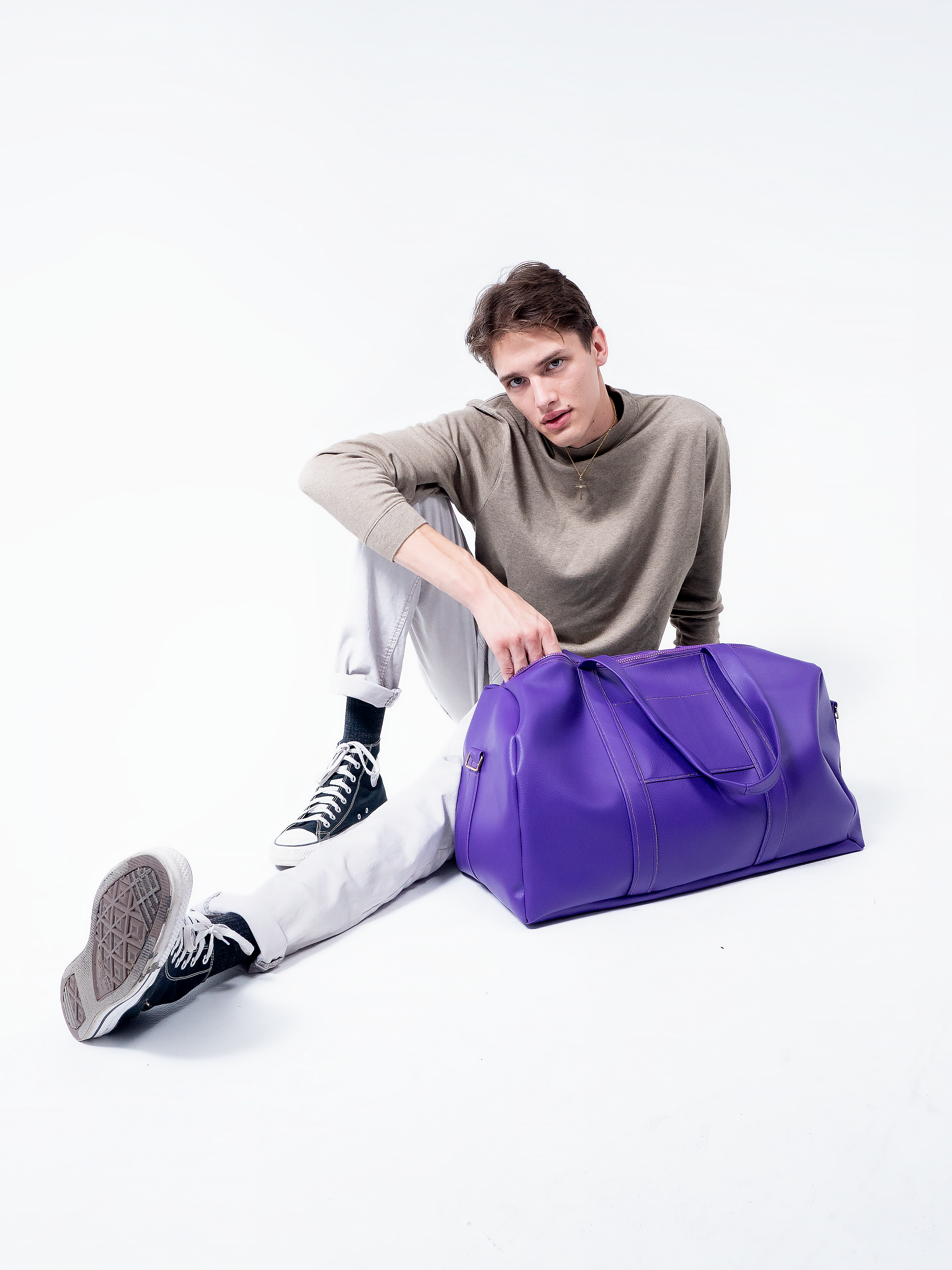 Purple Vegan Leather Duffle Bag